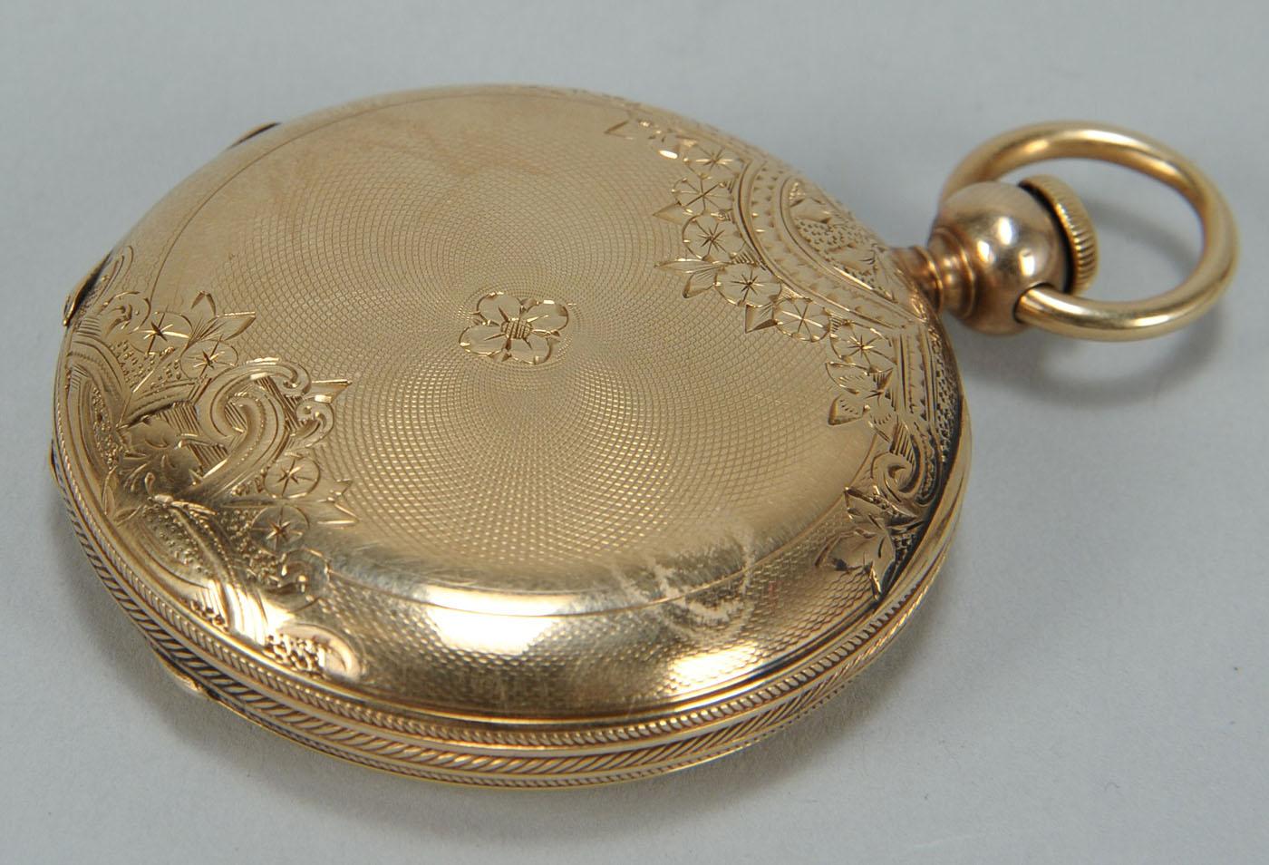 Lot 171 14k Gold Elgin Pocket Watch Bird Decorated Face