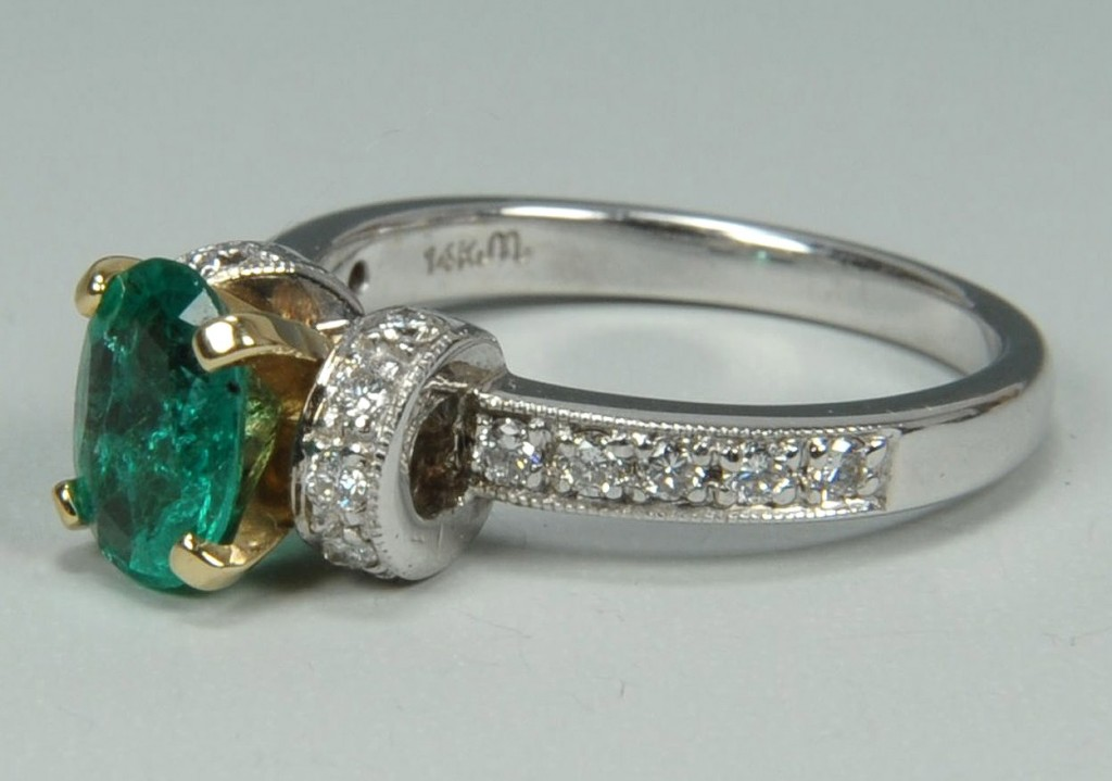Lot 172: Ladies 14K Emerald and Diamond Ring