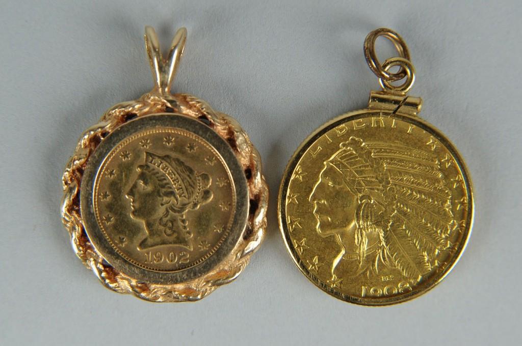 Lot 174: 1902 Liberty gold coin & 1908 Indian $5 gold coin