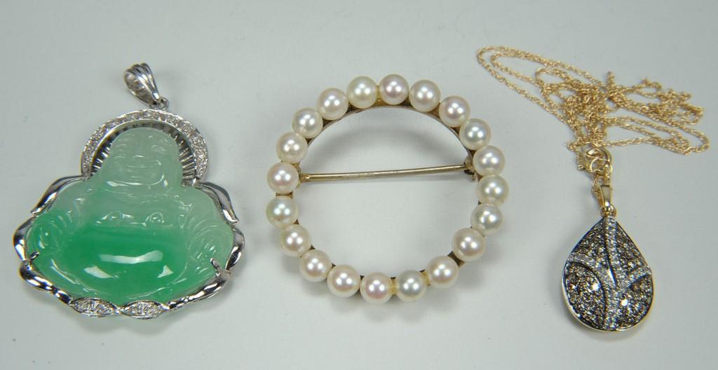 Lot 175: Jade Buddha, Dia pave pendant, Pearl circle pin
