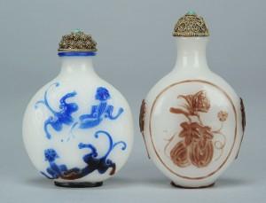 Lot 17: 2 Chinese Peking Glass Snuff Bottles