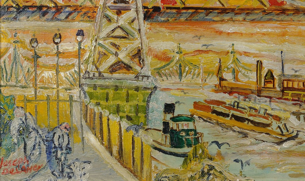 Lot 180: Joseph Delaney Oil on Board of Williamsburg Bridge