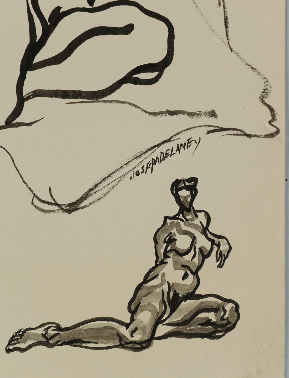 Lot 183: Signed Joseph Delaney Ink Drawing, two nudes