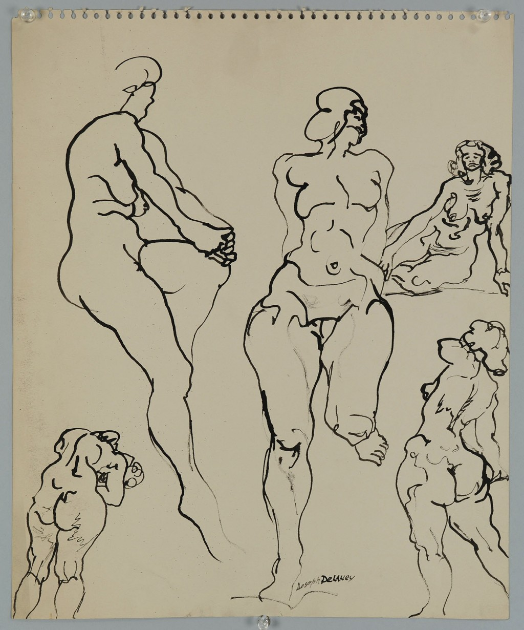 Lot 184: Signed Joseph Delaney Ink Drawing, multiple nudes