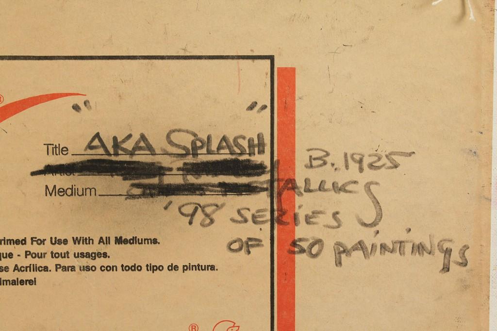 """Lot 185: Greg Ridley, Jr. Oil on board, """"aka Splash"""""""