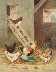 Lot 194: Oil painting of chickens, signed Rolf