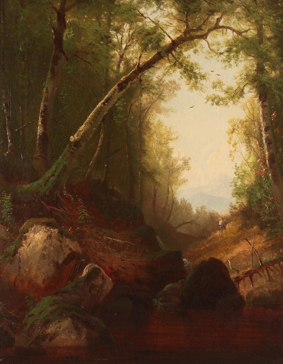 Lot 195: Hudson River School Oil, manner of Asher Durand
