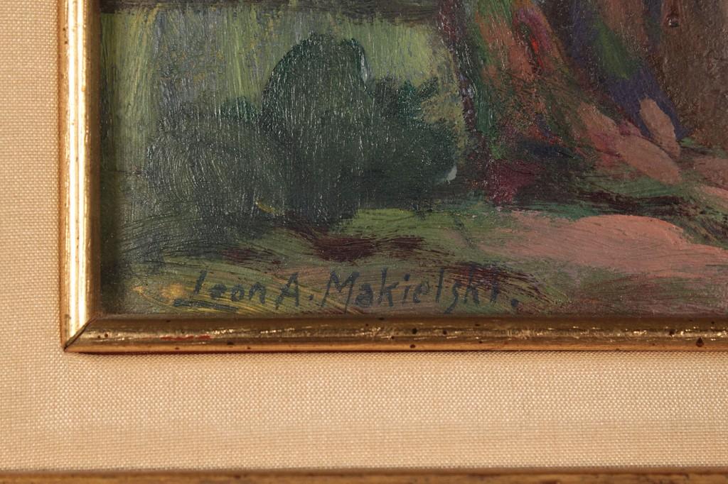 Lot 196: Leon Makielski Oil on Board, Children in Park