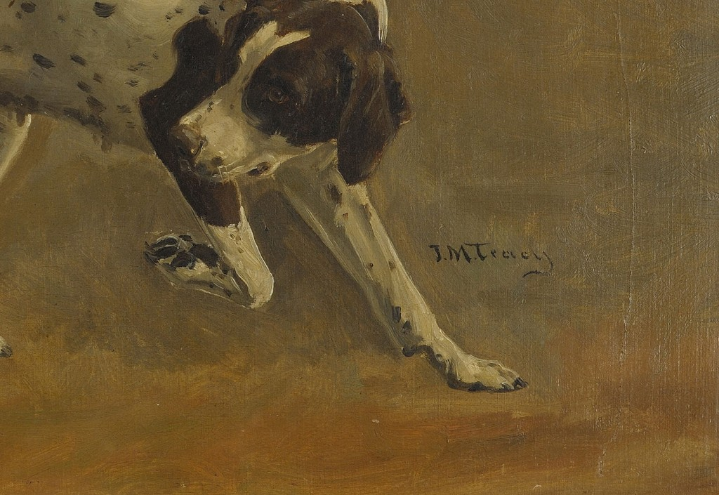 Lot 198: J.M. Tracy Oil on Canvas of a Pointer
