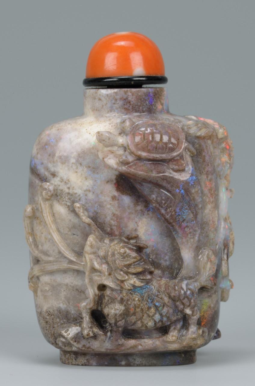 Lot 19: Chinese Opal Snuff Bottle, Animal & Tortoise