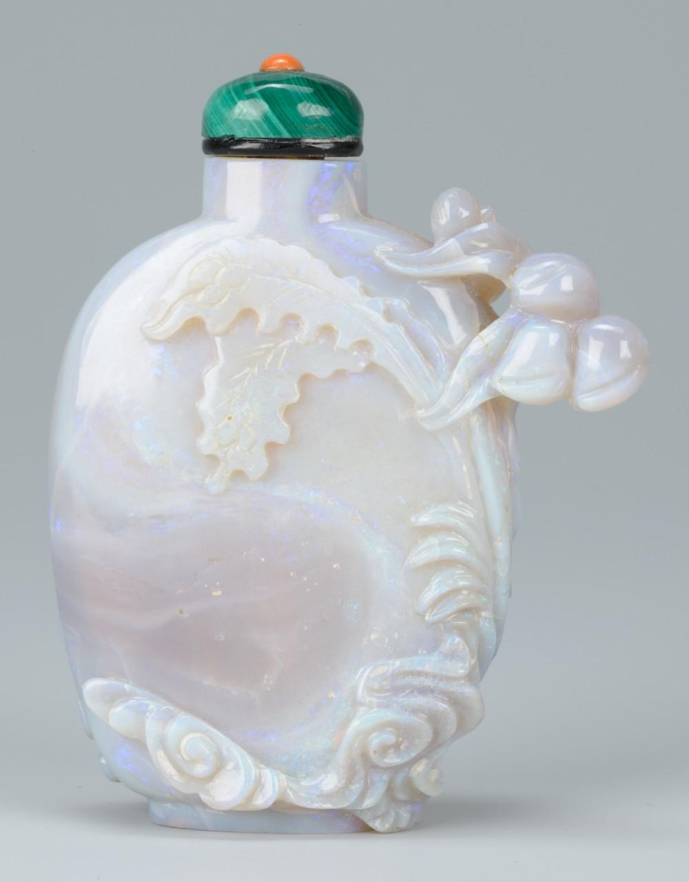 Lot 1: Chinese Opal Snuff Bottle, Female Immortal & Phoen