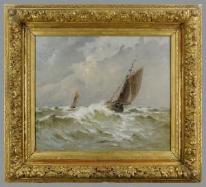 Lot 200: Emile Maillard oil on canvas marine painting, 1908