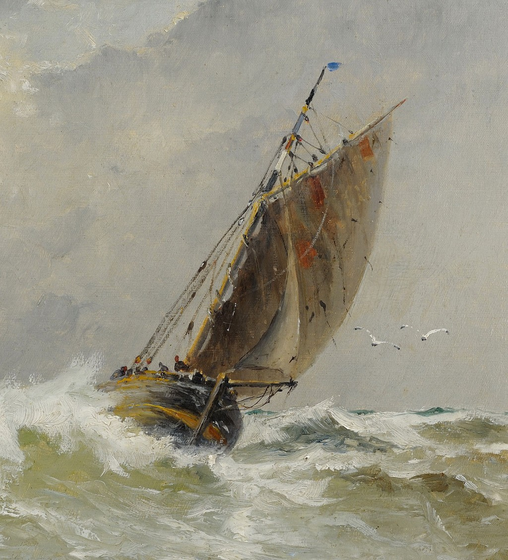 Lot 200: Emile Maillard oil on canvas marine painting, 1908