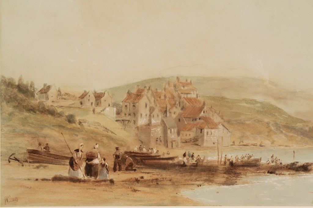 Lot 201: John W. Carmichael watercolor, Robin Hood's Bay, Y