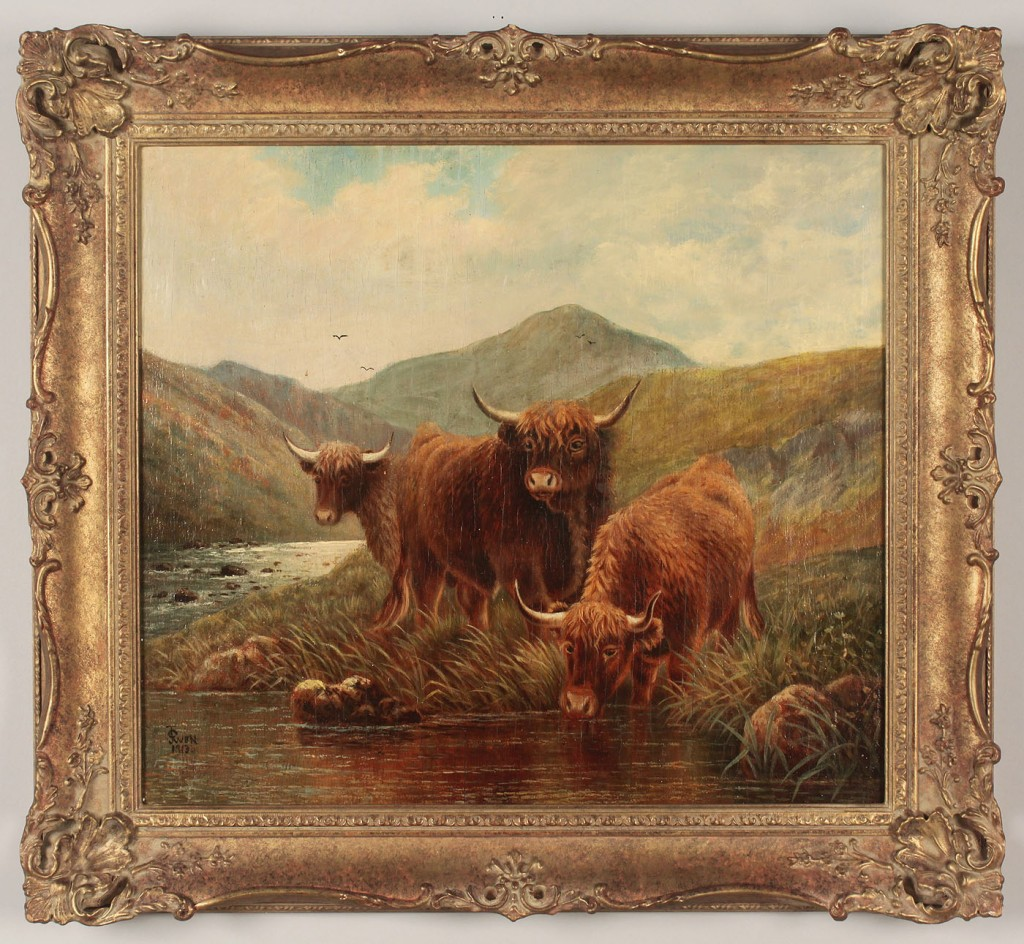 Lot 202: F.E. Jamieson oil on board, Landscape with 3 cows