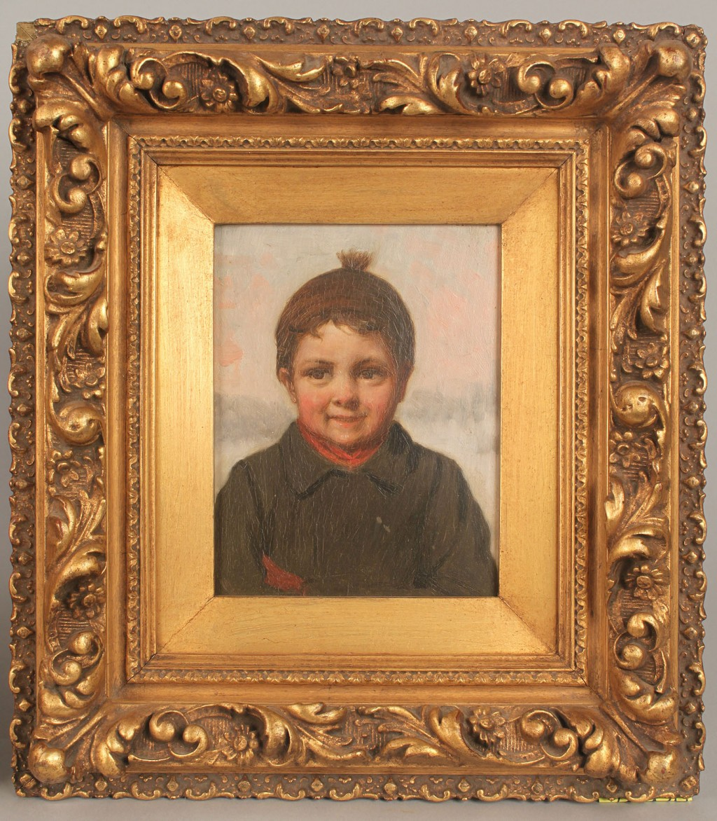 Lot 203: Pair Oil on Board Portraits, T. Senter