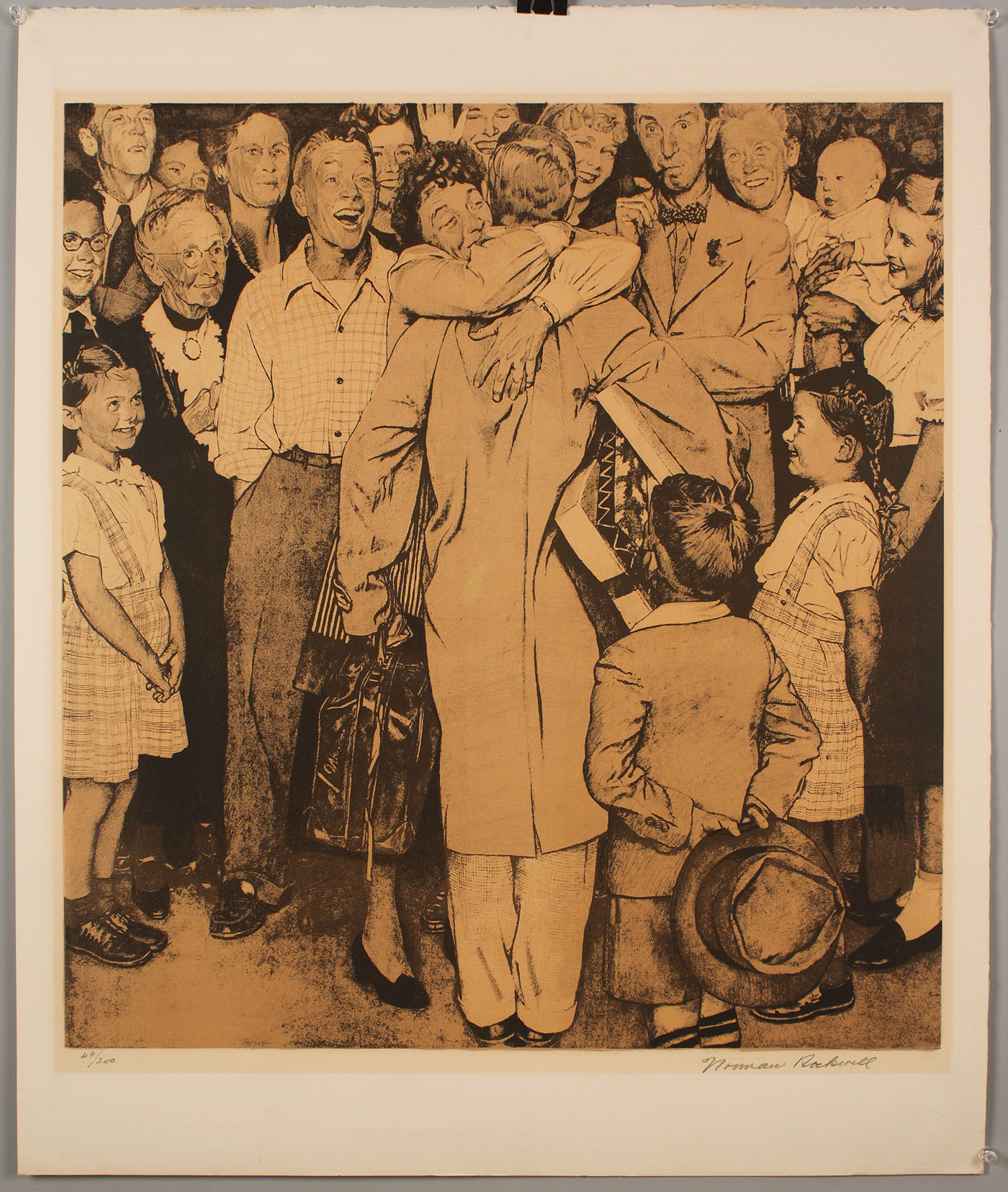 Lot 204: Norman Rockwell Lithograph, Christmas Homecoming