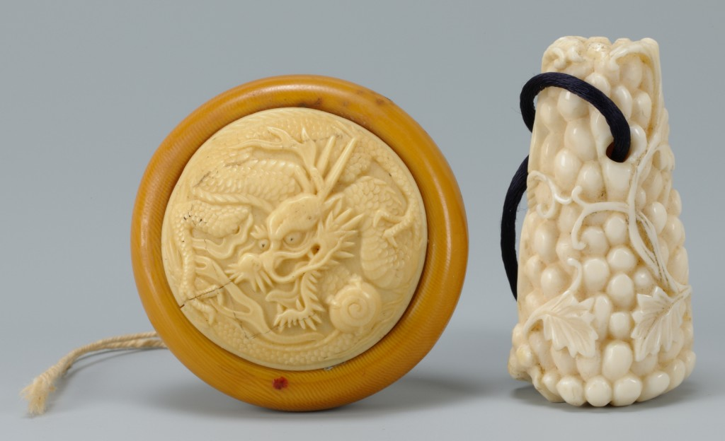 Lot 210: 2 Carved Asian Ivory Items