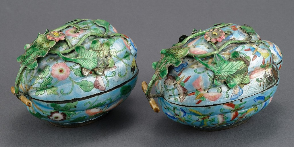 Lot 214: Pair Chinese Canton Enamel Citron Form Boxes