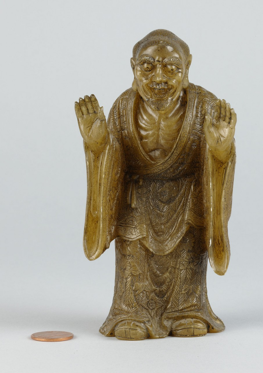 "Lot 216: Chinese Carved Shoushan Lohan ""Kanaka the Vatsa"""