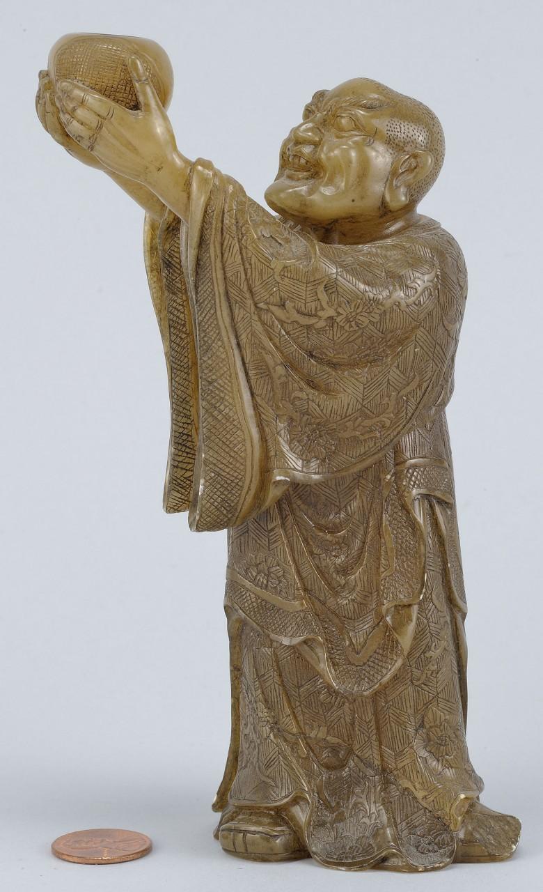 """Lot 217: Chinese Carved Shoushan Lohan """"Kanaka the Bharadva"""