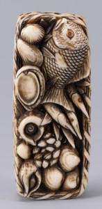 Lot 21: Japanese Ivory Netsuke, Basket And Fish Design