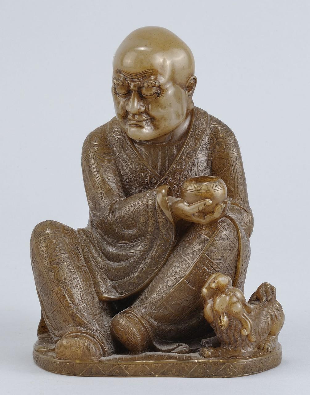 """Lot 222: Chinese Carved Shoushan Lohan """"Vijraputra"""""""