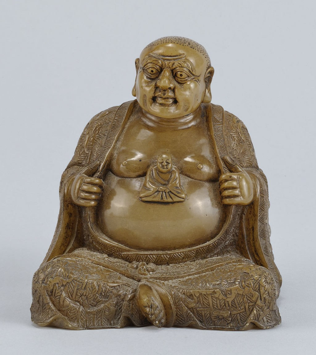 """Lot 223: Chinese Carved Shoushan Lohan """"Gobaka"""""""