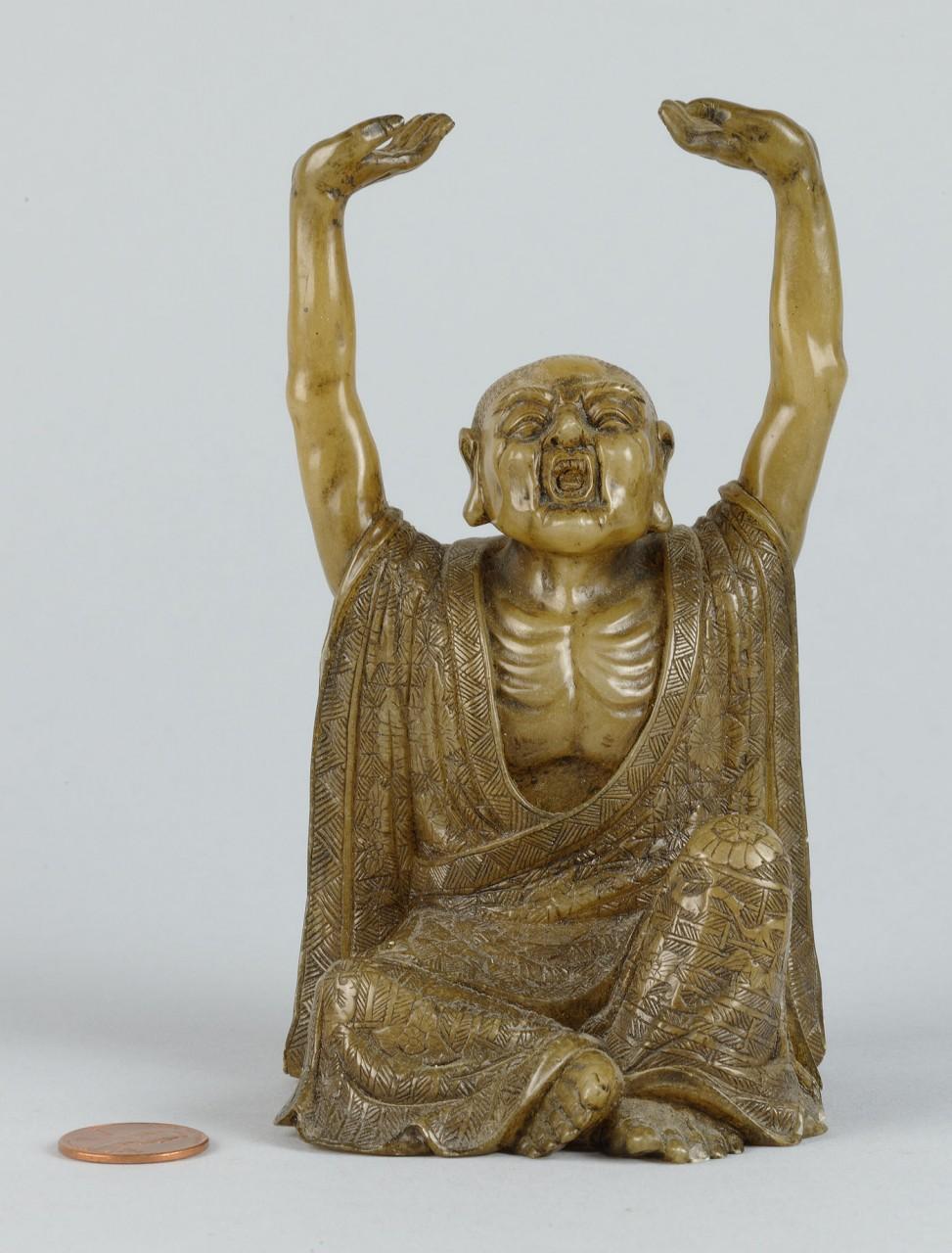 "Lot 224: Chinese Carved Shoushan Lohan ""Pantha the Elder"""