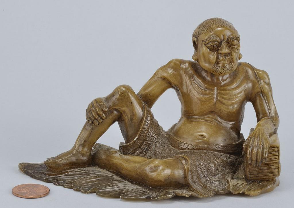 """Lot 227: Chinese Carved Shoushan Lohan """"Vanavasa"""""""