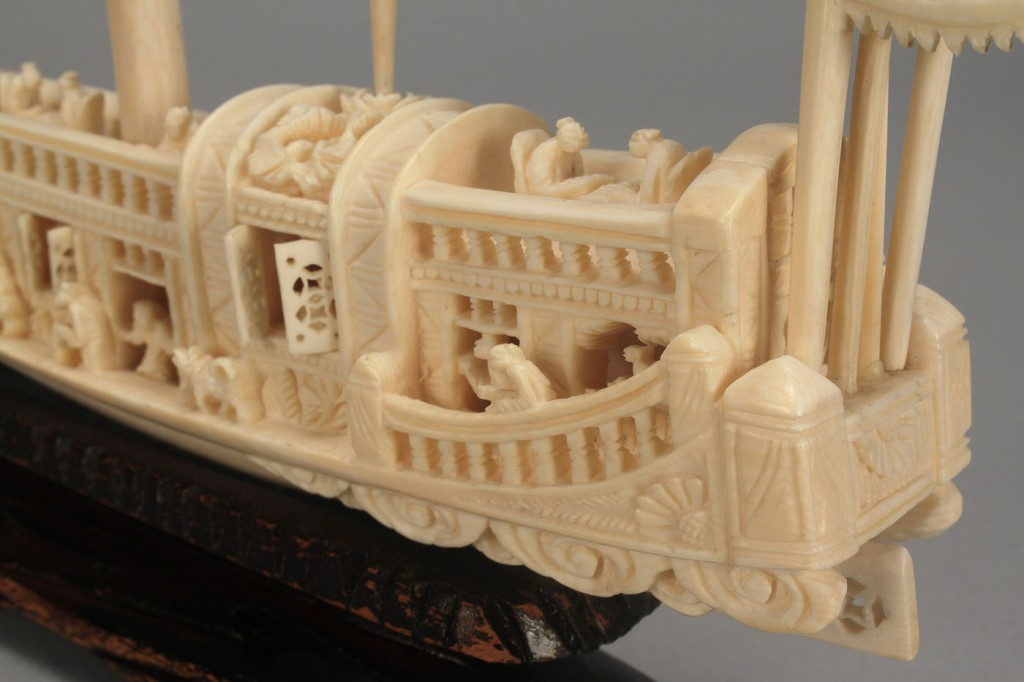 Lot 22: 4 pcs Chinese Ivory including carved ship