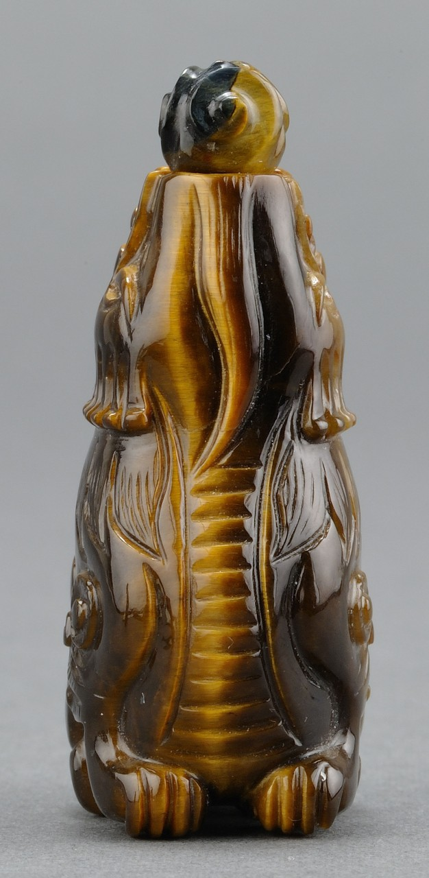 Lot 233: 2 Chinese Carved Snuffs, Tiger's Eye & Obsidian