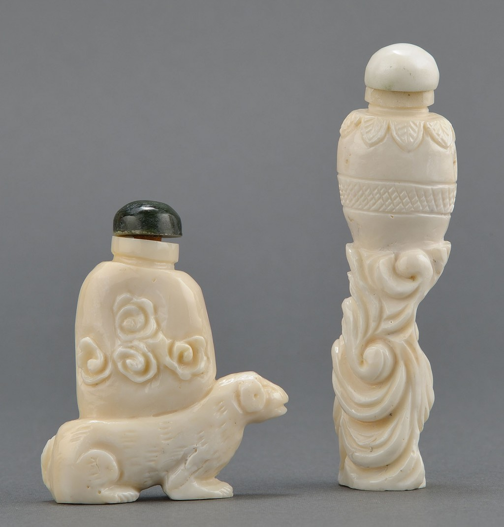 Lot 237: 2 Chinese Carved White Coral Snuff Bottles