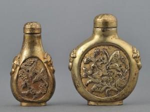 Lot 247: 2 Chinese Gilt Bronze Snuff Bottles