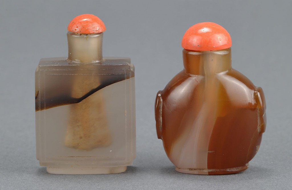 Lot 251: 2 Chinese Montana-Style Agate Snuff Bottles
