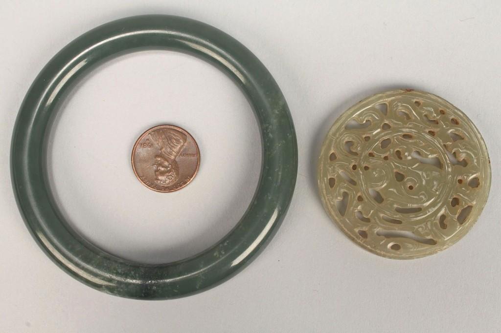 Lot 252: Chinese Jade Carved Bi Disc & Bracelet