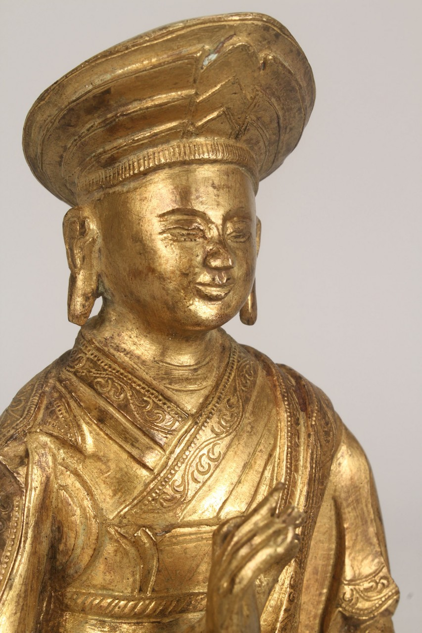 Lot 253: Chinese Gilt Bronze Figure of Seated Monk