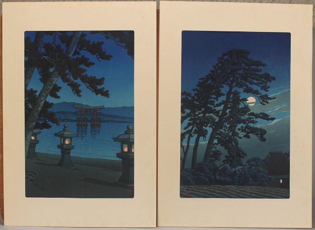 Lot 254: Pair of Japanese Woodblocks by Kawase Hasui