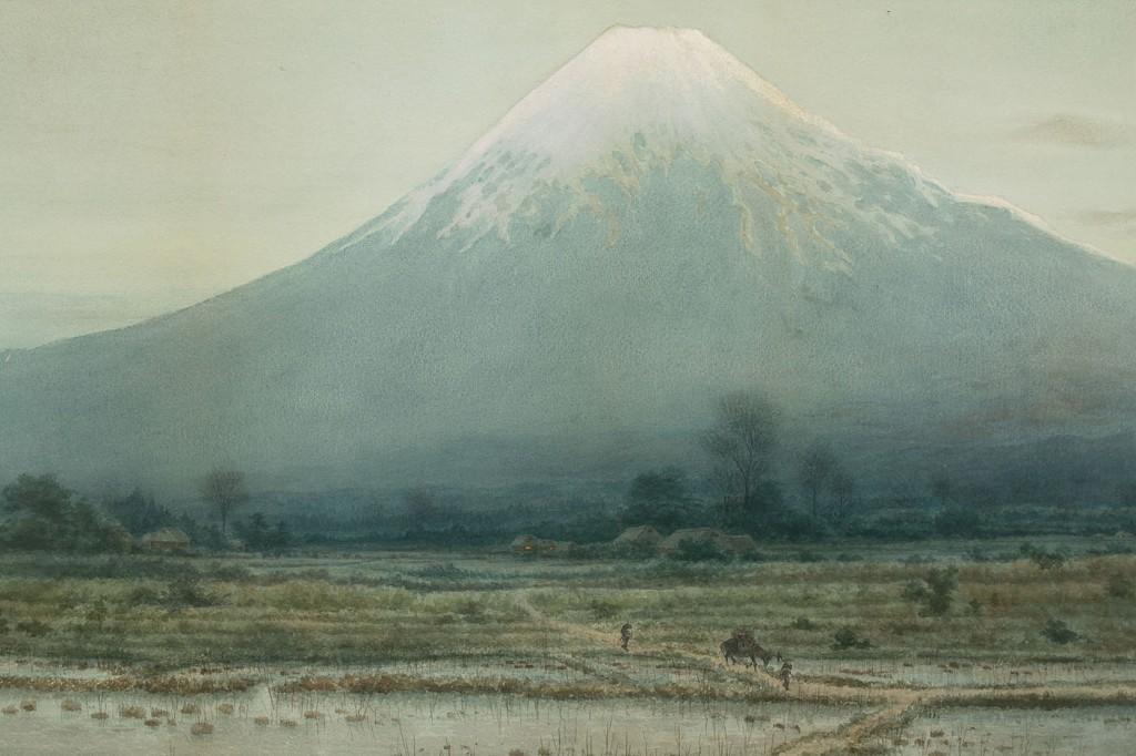 Lot 255: T. Hasekawa Japanese watercolor of Mount Fuji