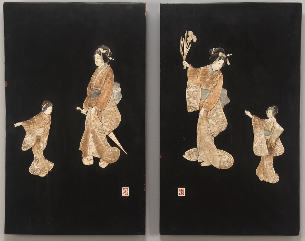 Lot 259: Pair Asian lacquered panels w/ Ivory, bone, pearl