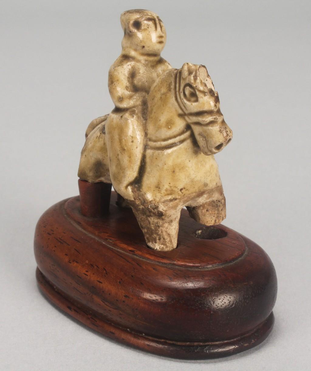 Lot 271: Chinese Yingquig Glaze Sculpture w/ huanghuali Woo