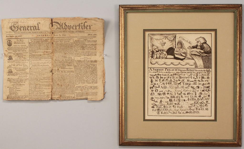 Lot 272: 19th Political Cartoon and 18th C Phila Newspaper