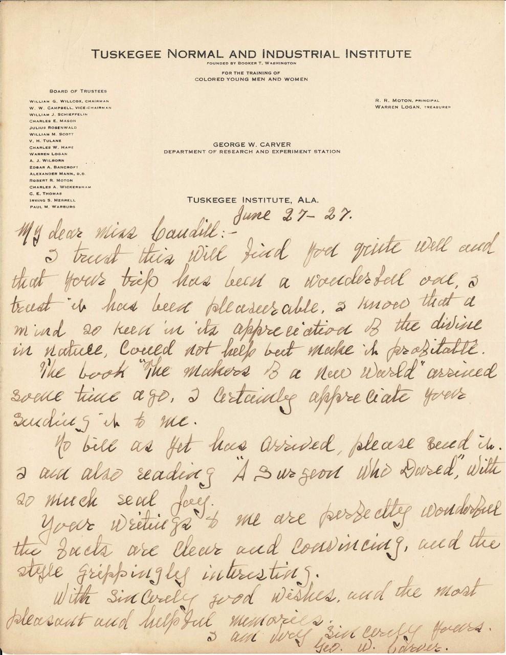 Lot 273: George Washington Carver Letter, Tuskegee