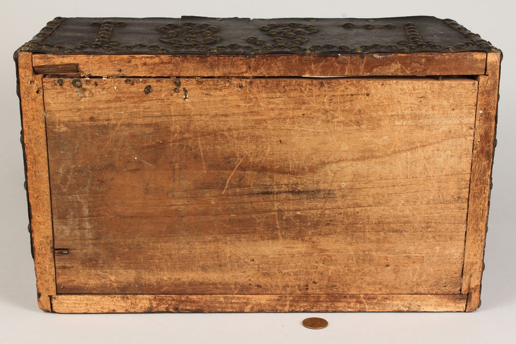 Lot 277: Small early trunk with tack decoration