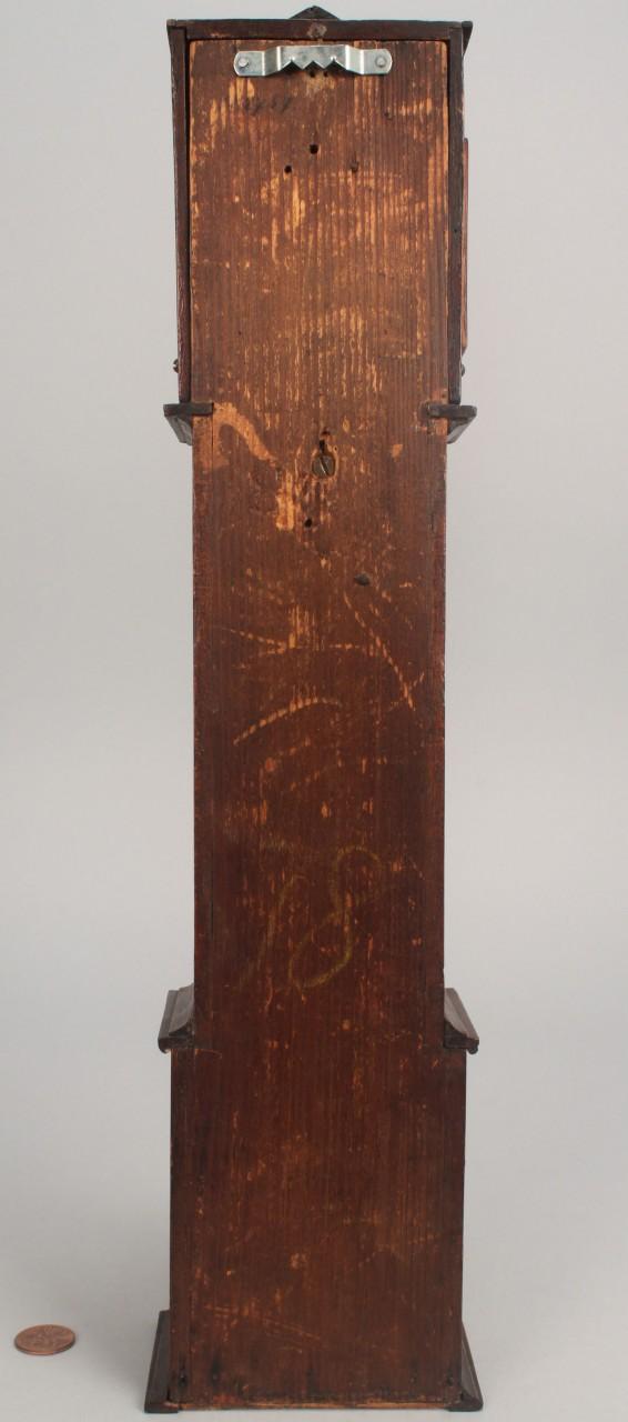 Lot 278: Miniature 19th c. tall case clock, Neoclassical st