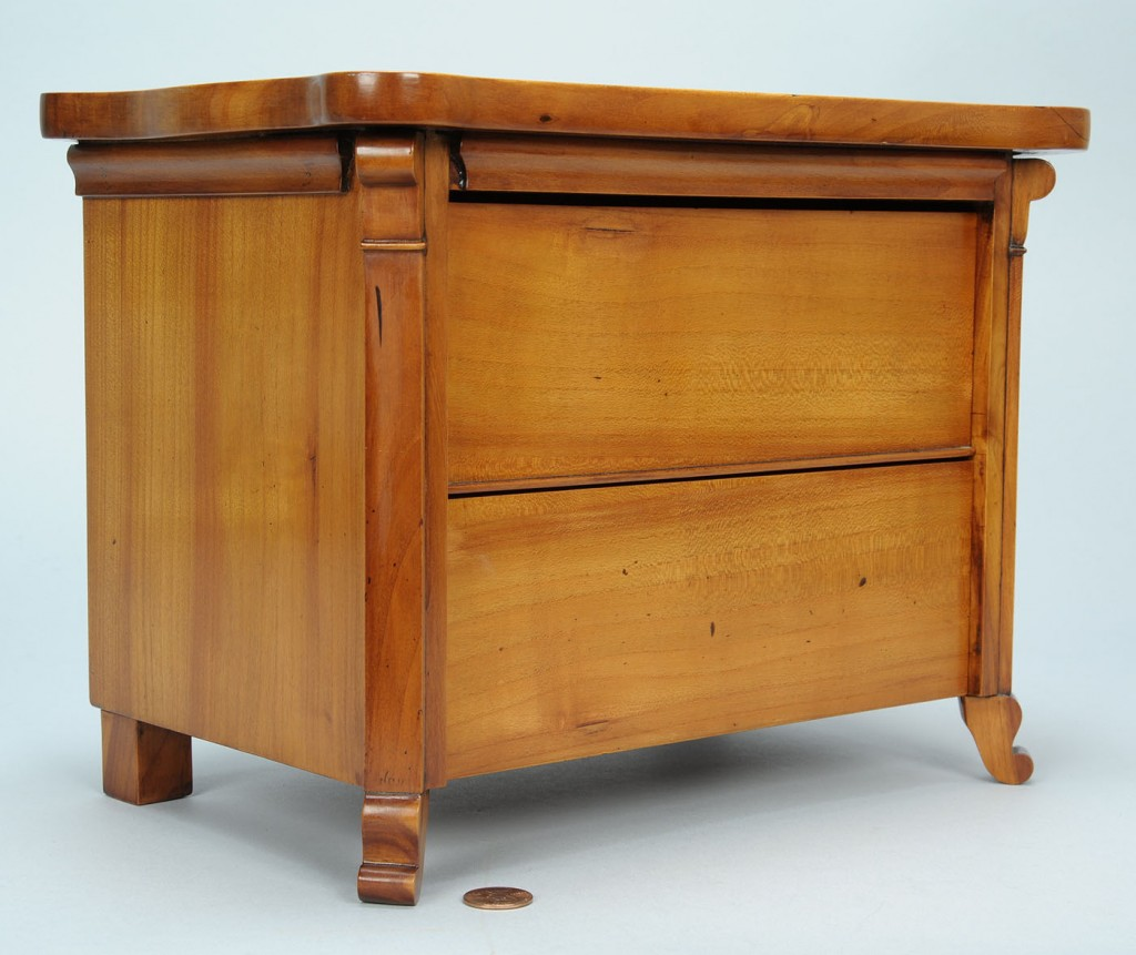 Lot 279: Miniature Biedermeier chest, signed & dated 1858
