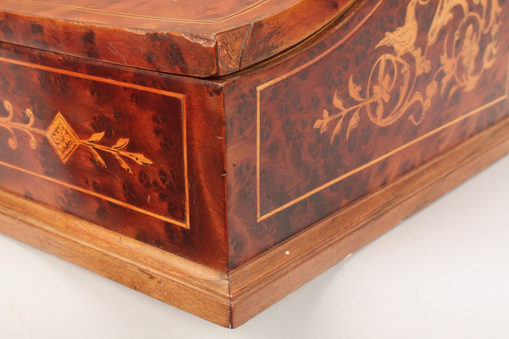Lot 280: Marquetry writing box, inlaid nudes