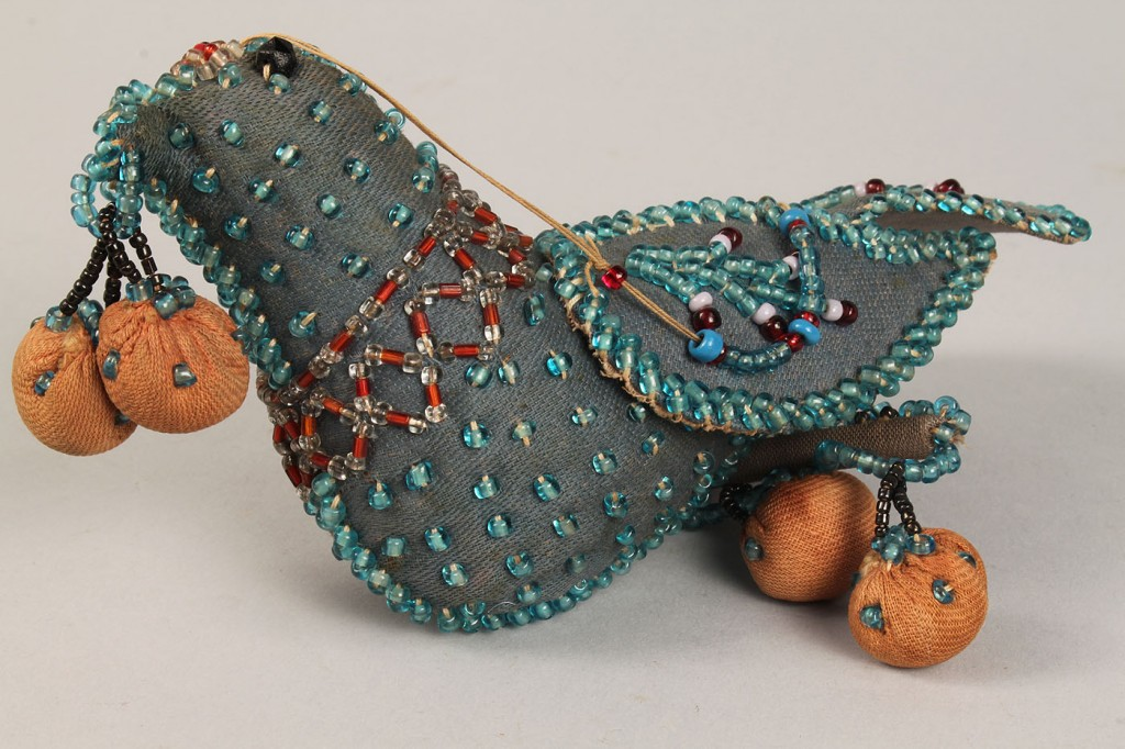 Lot 282: 2 Paper Mache Pigeons & Iroquois Beaded Bird Whims