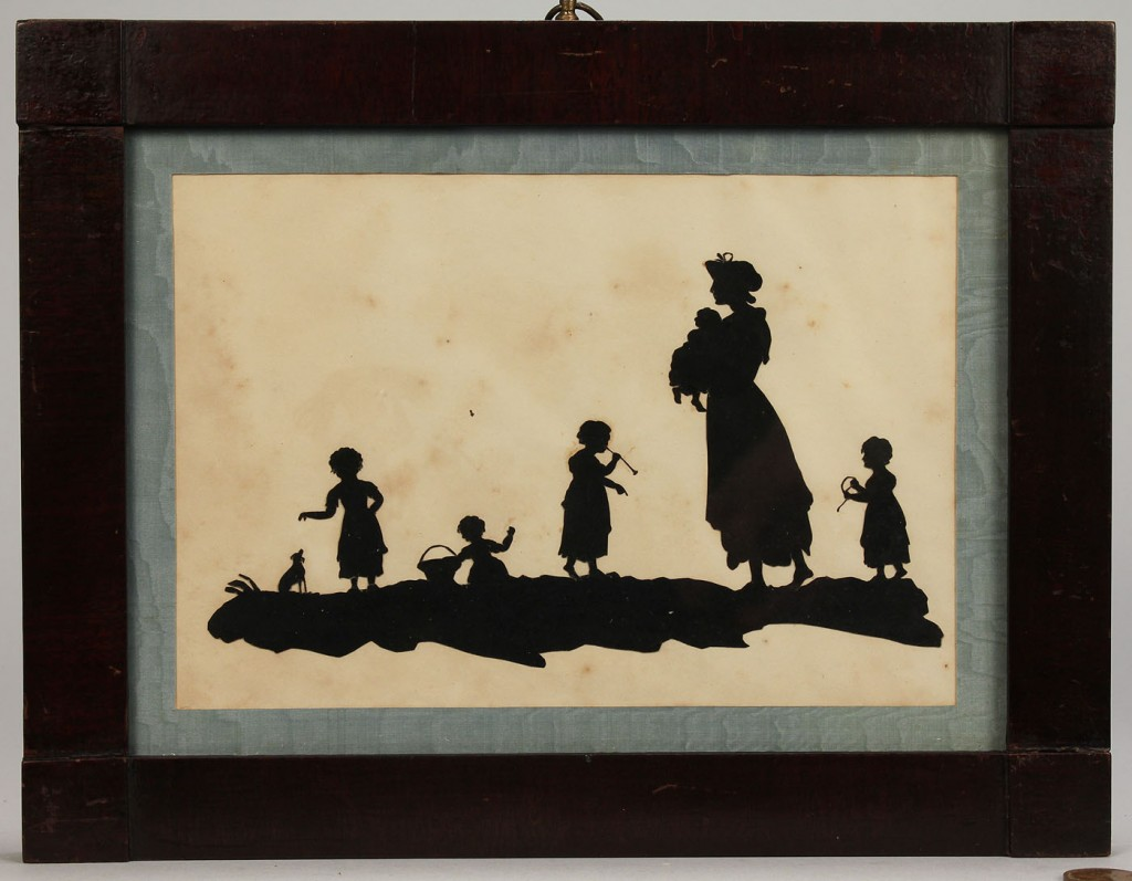 Lot 283: Two silhouettes of women and children