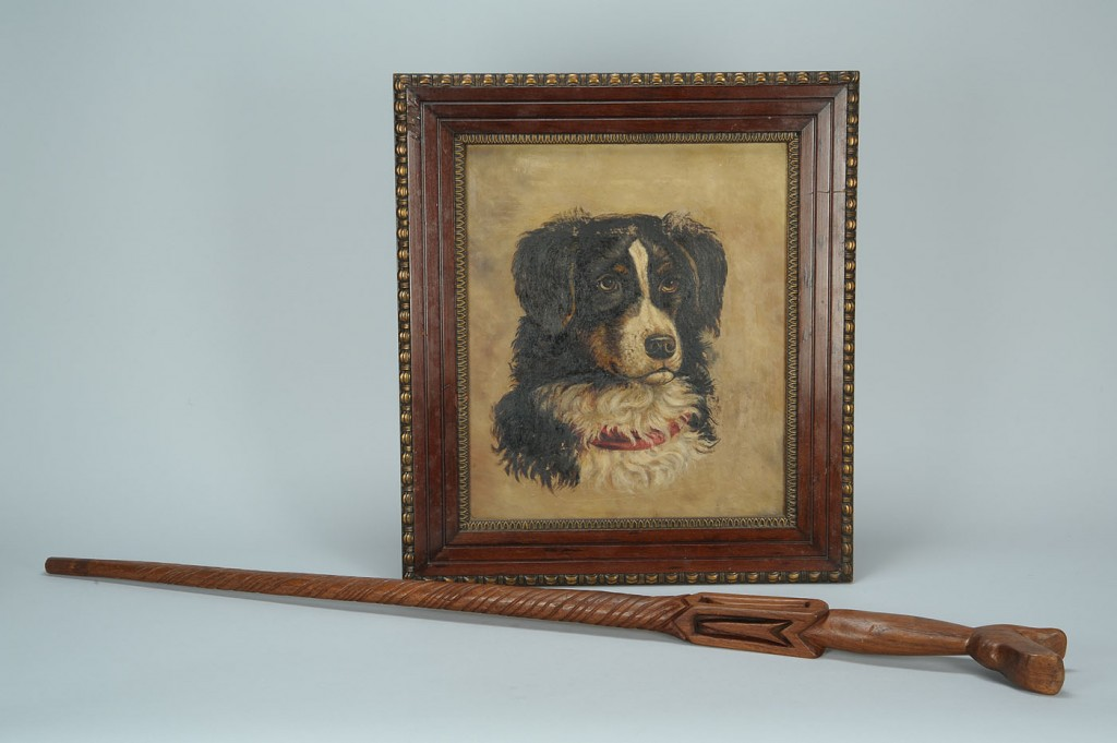 Lot 284: Folk Art Carved Dog Cane And Dog Painting